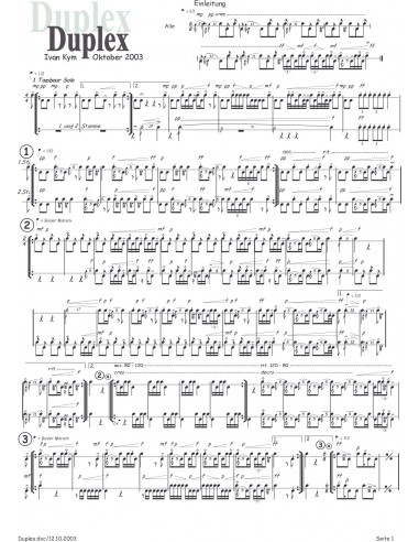 Duplex 1 Trommelnoten-Partitur / Kym...